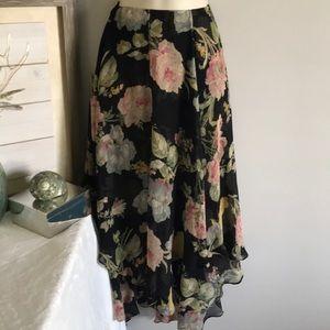 Silk Chiffon Ralph Lauren black floral skirt 6